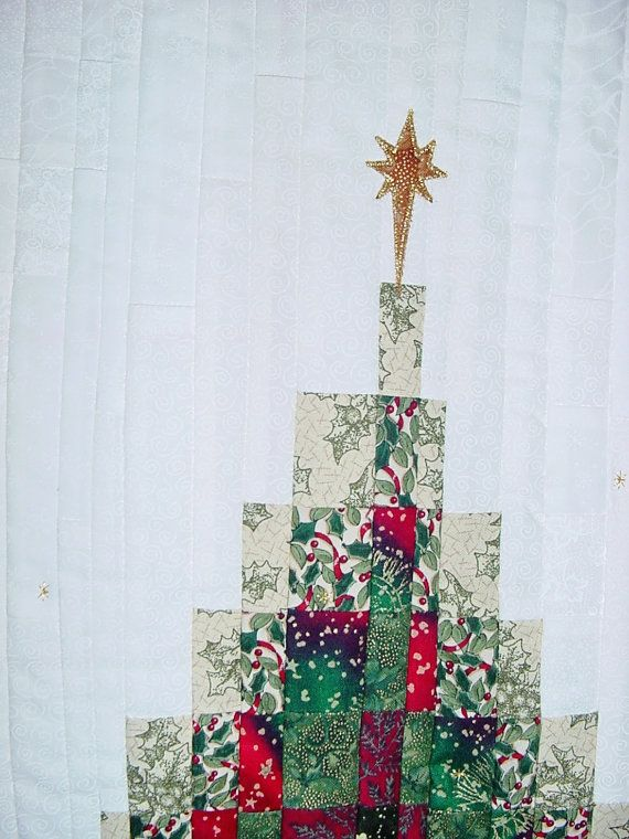 Christmas Tree Bargello Quilt Wall Hanging by KatBeeQuilts on Etsy