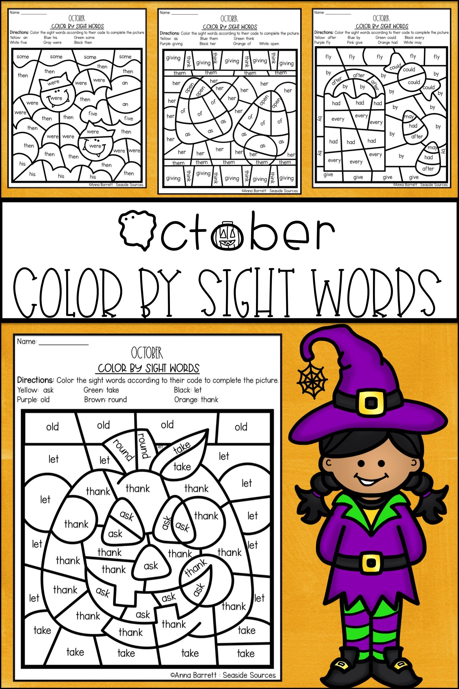Halloween Color By Sight Words