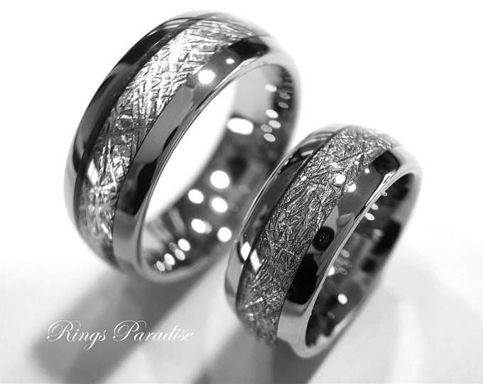 Matching Wedding Bands Meteorite Inlay Rings Men and Women Promise