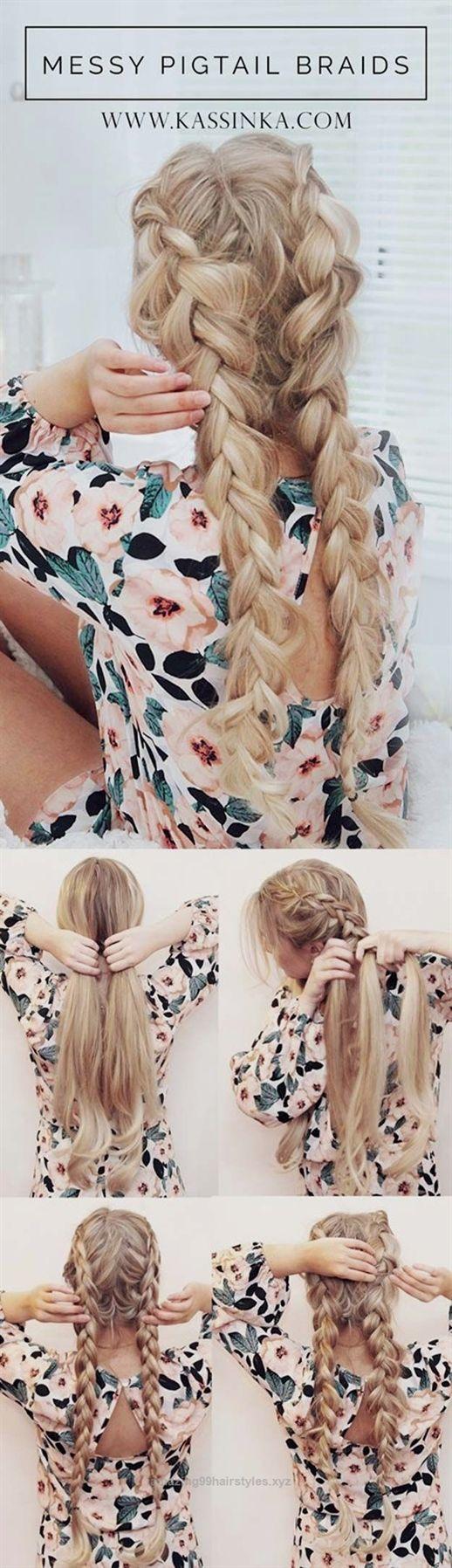 Festival hair tutorials pigtail braids hair tutorial short quick