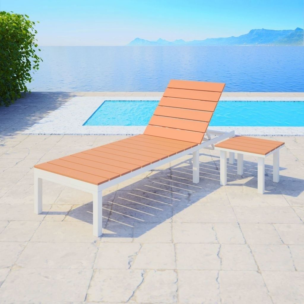 Sun Lounger With Table Aluminium Wpc And Brown Liveditor Outdoor