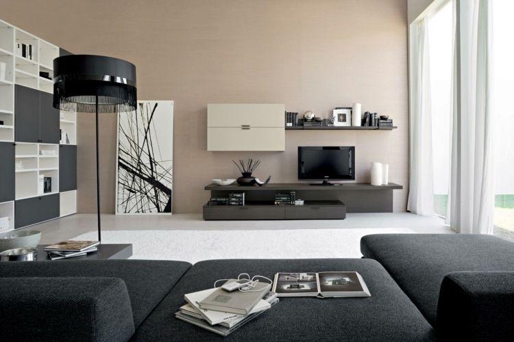Im Modernen Wohnzimmer Können Helle Und Dunkle Farben Kombiniert Werden
