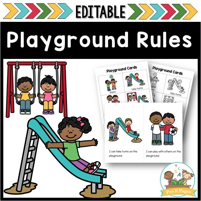 Playground and Recess Rules Editable PRESCHOOL BACK TO SCHOOL