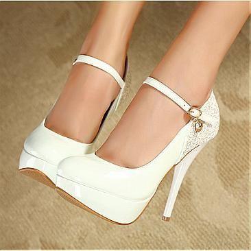 Women's Shiny High Heel Stiletto Platform Pumps Party Wedding Shoes Beige/White $39.99