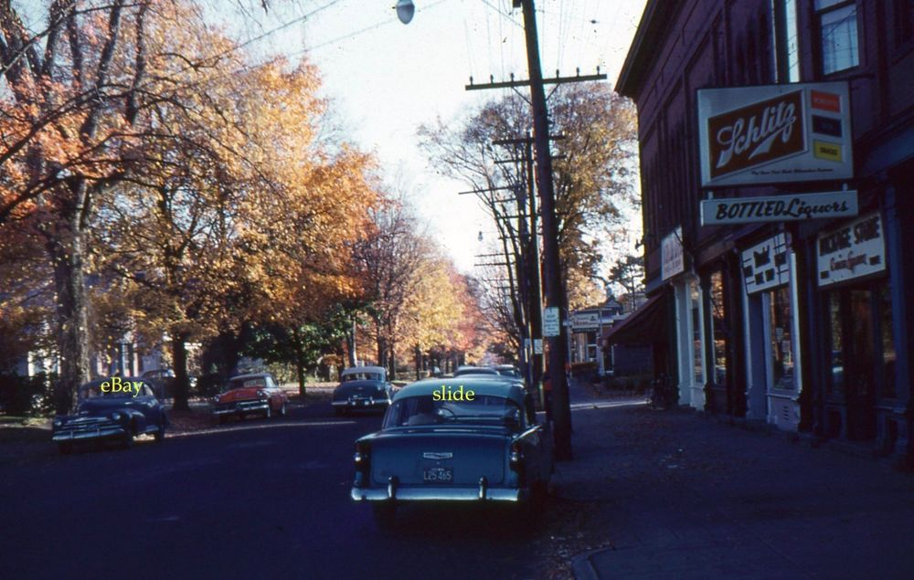 35mm Slide Cars 1959 Northampton Street ScenenSchlitz Long Island Kodachrome
