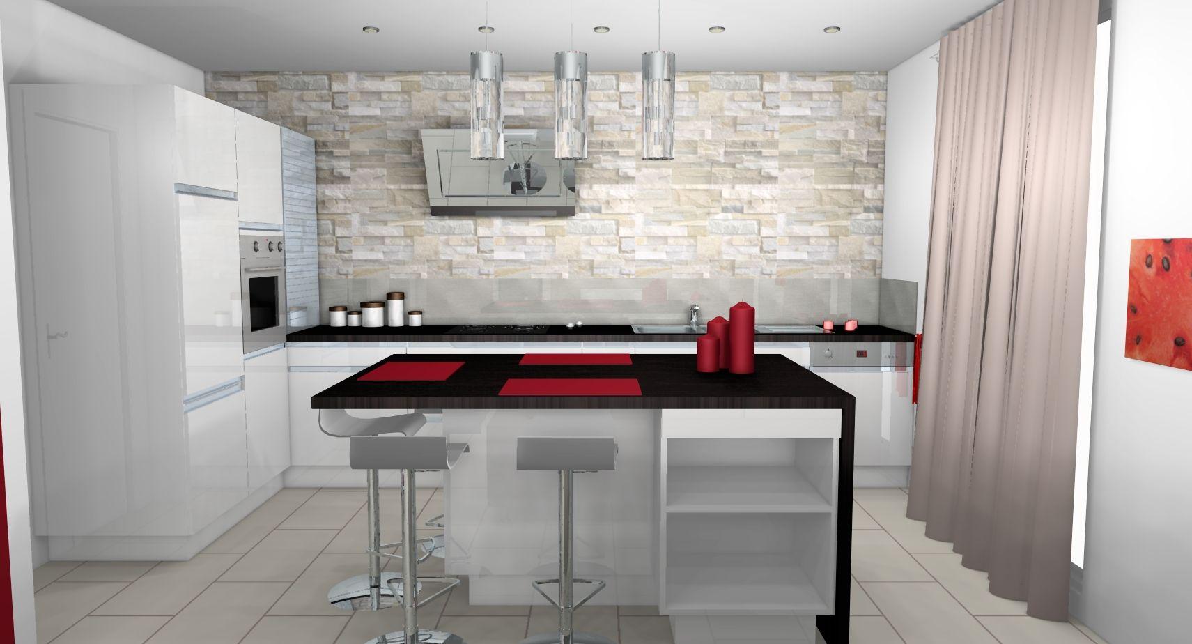 cuisine-moderne-parement-pierre-contemporain-mobilier-laque-blanc ...