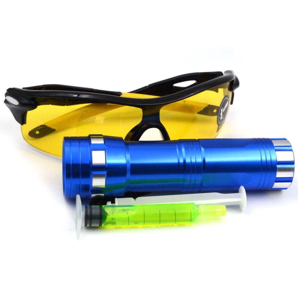Auto air conditioning repair tool kit leaks 14 led uv blue