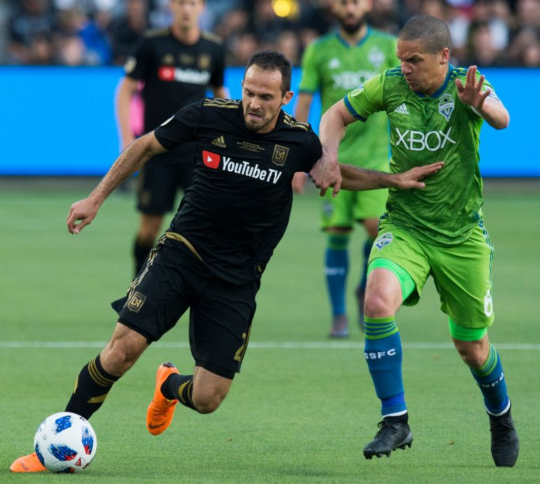 Lafc S Marco Urena 21 Battles Seattle S Osvaldo Alonso 6 As The Club Makes Its Home Debut Against The Seattle Los Angeles Football Club Sounders Los Angeles