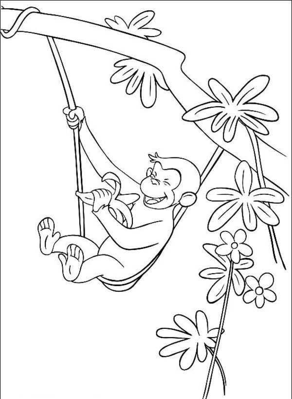 george the monkey eating a banana in the tree coloring pages ... - Coloring Pages Monkeys Trees