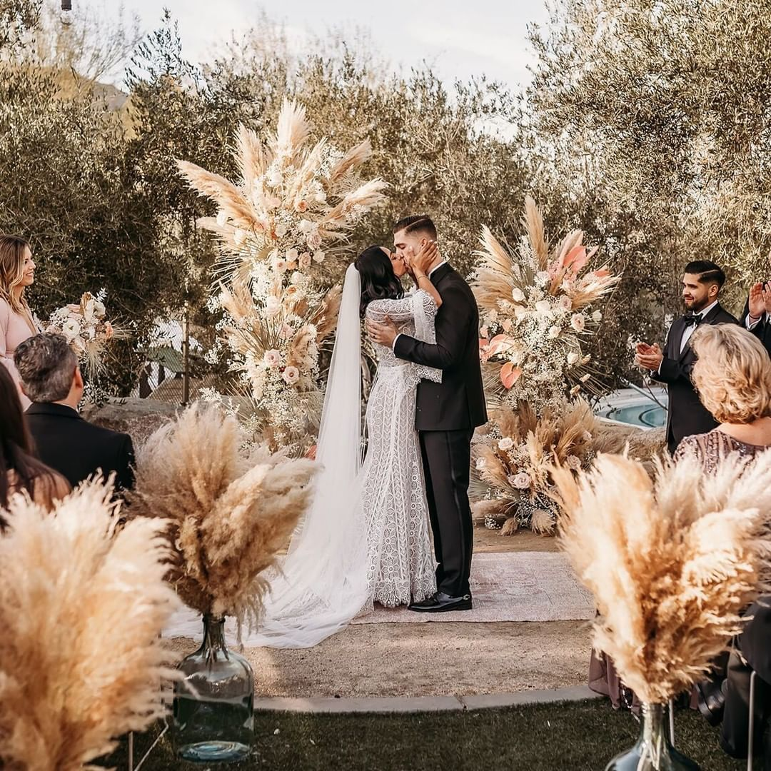 """Green Wedding Shoes   Jen on Instagram: """"Can we all just agree that pampas grass makes magic every ? single ? time?! ? If this dreamy boho ceremony decor makes your heart flutter,…"""""""