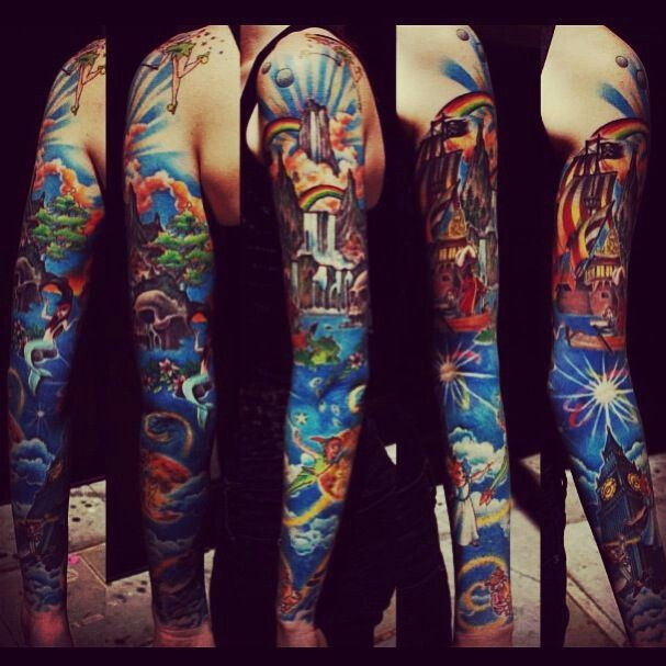 Pin By Bobbie Smith On Tattoo Ideas Peter Pan Tattoo Full Sleeve Tattoos Sleeve Tattoos