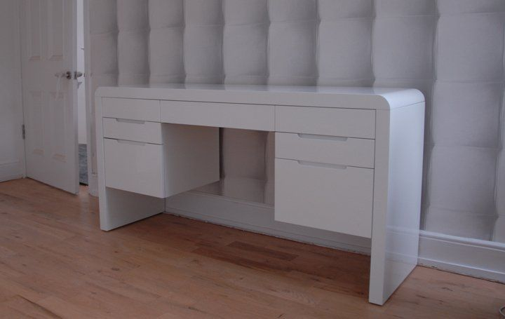 Perfect White Lacquered Dressing Table With Simple Recessed Handles.