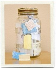 Memory Jar, Put memories made throughout the year in the Jar. Then on new years eve empty and read them all from the wonderful year you've had :) Memory Jar, Put memories made throughout the year in the Jar. Then on new years eve empty and read them all from the wonderful year you've had :)