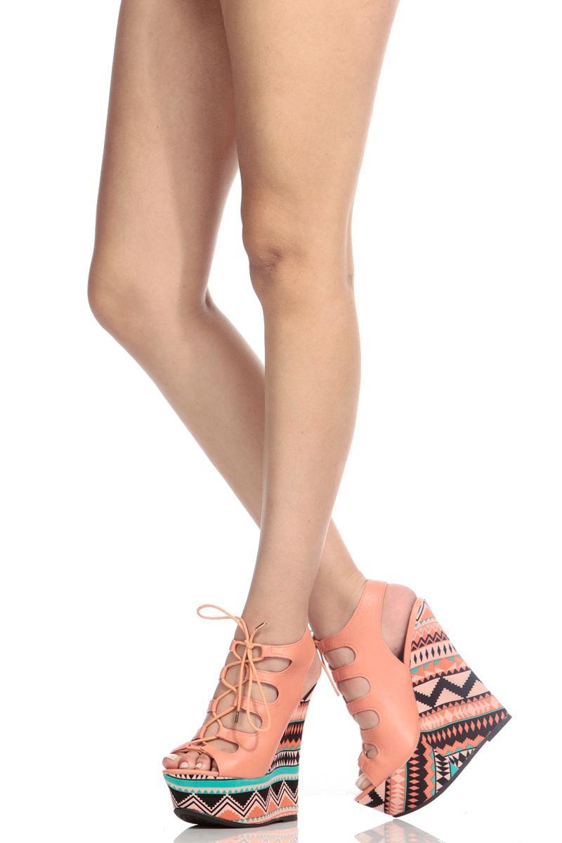 peach wedge shoes