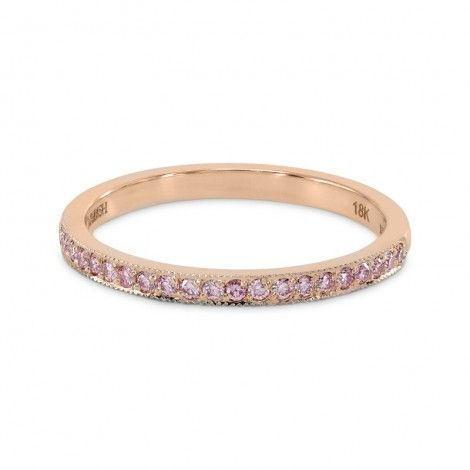 8a5c977ca Rose Gold Fancy Pink Diamond Half-Eternity Milgrain Wedding Band Ring, SKU  2910R…