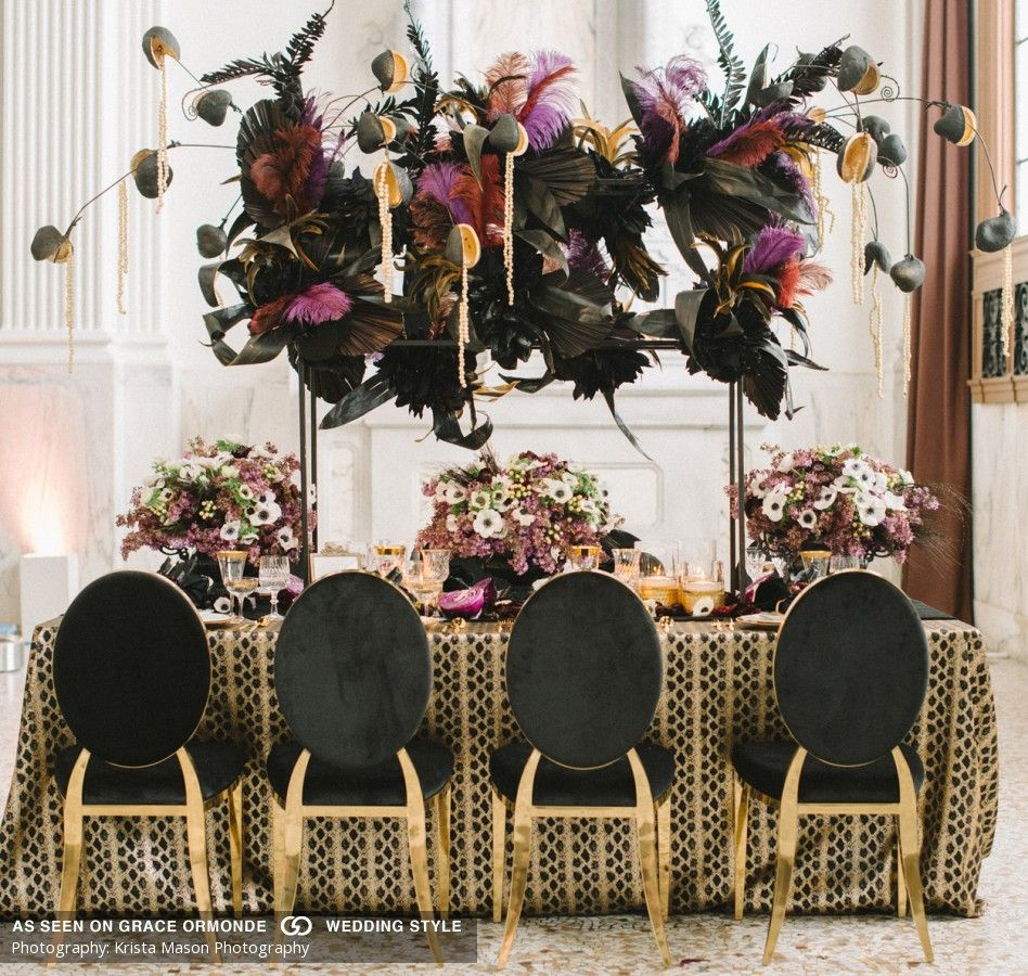 Wedding Reception Head Table Ideas: Cleopatra Inspired Table With Black Feathers And Valor