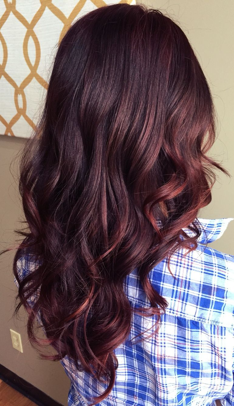 Red Balayage Fall Hair Color For Brunettes Red Balayage