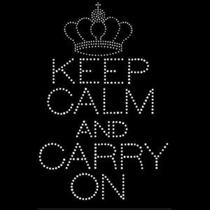 keep calm and carry on rhinestone transfer