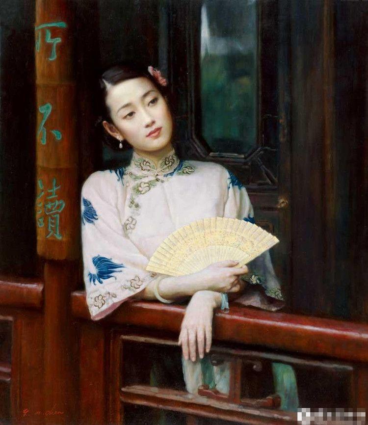 陈逸鸣油画作品:仕女系列-2 - 长廊闻莺   1999年作 作品尺寸:117*101.6cm