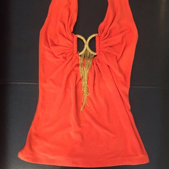 Marciano GUESS Orange Halter Top, Fitted XS Beautiful, fitted Marciano Shirt. Made in USA. Used Marciano Tops Tank Tops