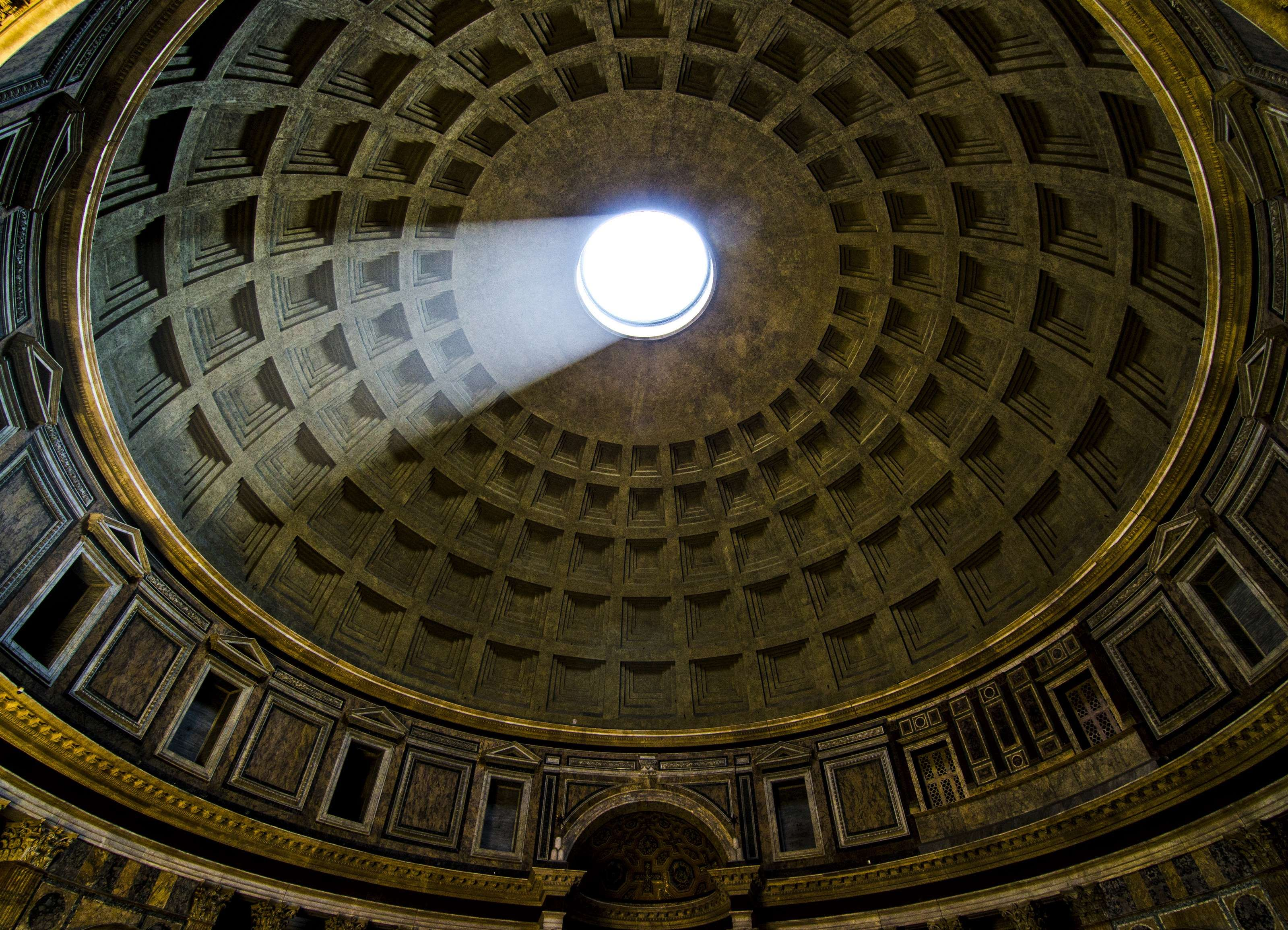 Ancient Rome Ceiling Hole Looking Up Pantheon Roof