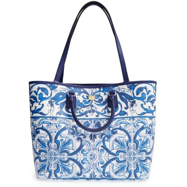 Dolce&Gabbana 'Lara' Crespo Print Shopper ($1,395) ❤ liked on Polyvore featuring bags, handbags, tote bags, coated canvas tote, shopping bag, structured tote bag, fold over tote and foldable shopping bag