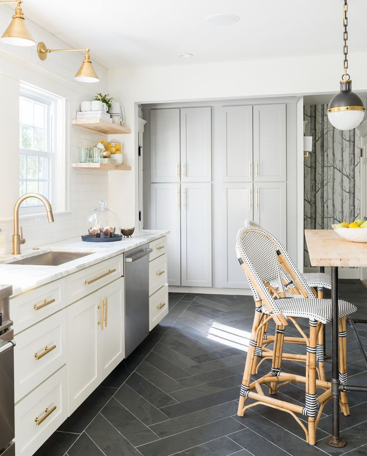 Best White Grey Brass Kitchen With Herringbone Tile Floor 640 x 480