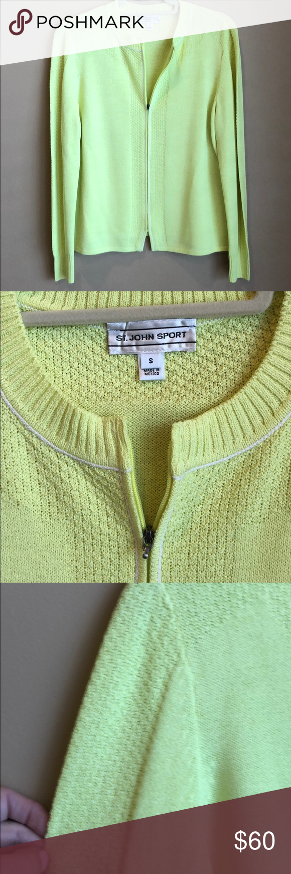 "St John Sport Small ZIP Front Lightweight Sweater Lemon Yellow St John Sport Small ZIP Front Lightweight Sweater Only issue is the zipper. It's fully functional but the tip that says St John is missing. Photo attached.  Center front 21"" Bust 19"" Sleeve 24.5. Great condition (with the zipper pull being the only drawback). St. John Sweaters Cardigans"