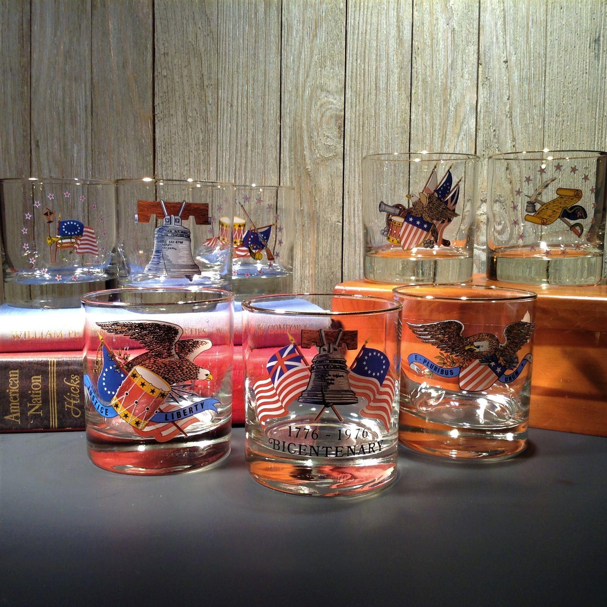 Vintage Rocks Glasses, 8 West Virginia Glass Handmade Old Fashion Cocktail  Glasses, Patriotic US