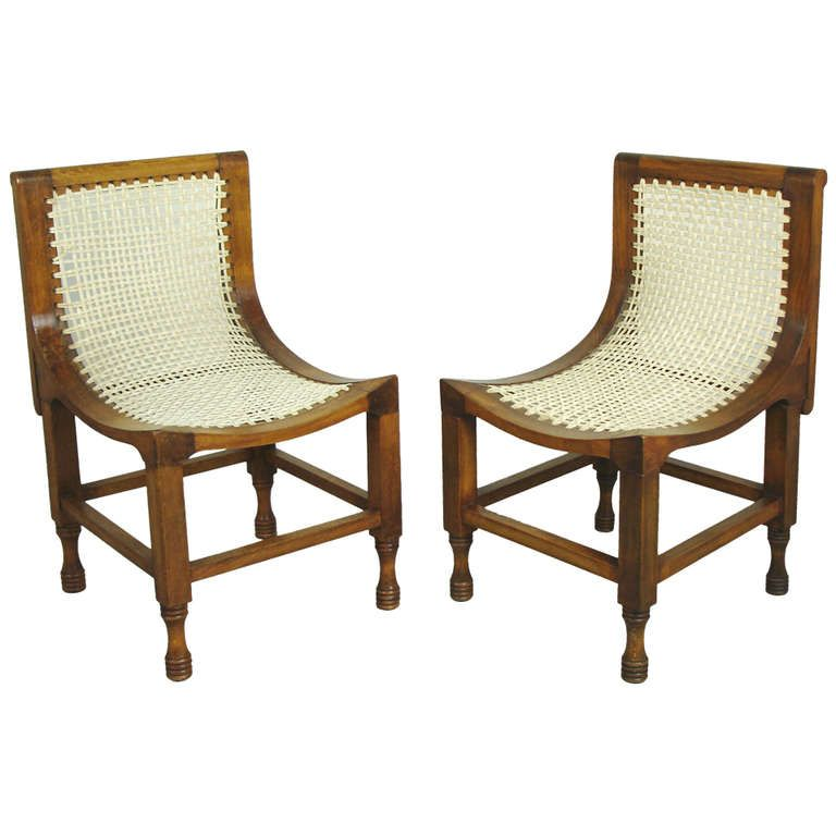 Two Egyptian Revival Thebes Chairs In The Style Of Liberty