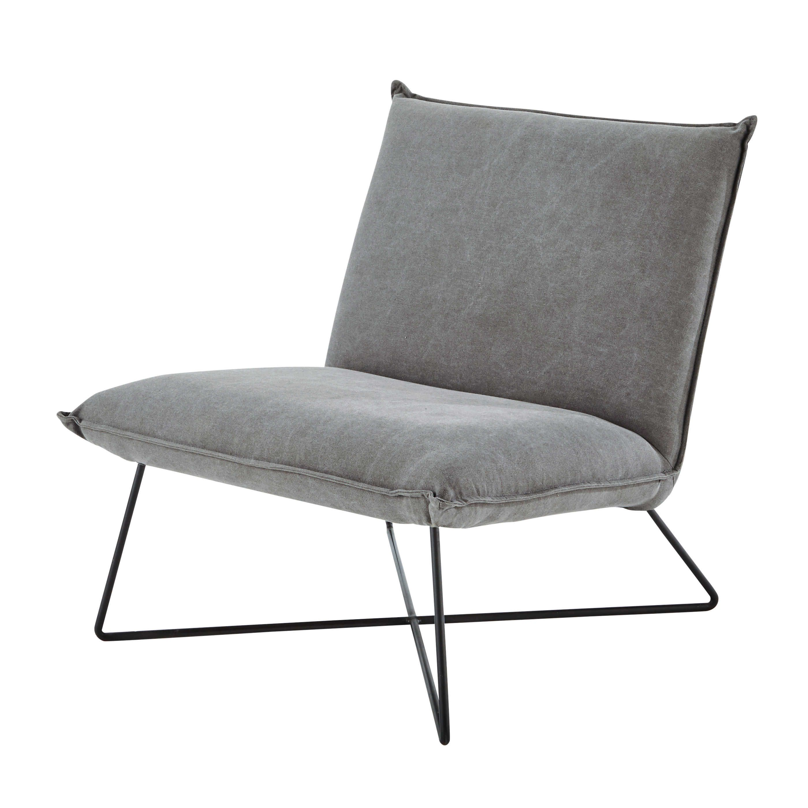 Cotton Armchair In Grey Lucas