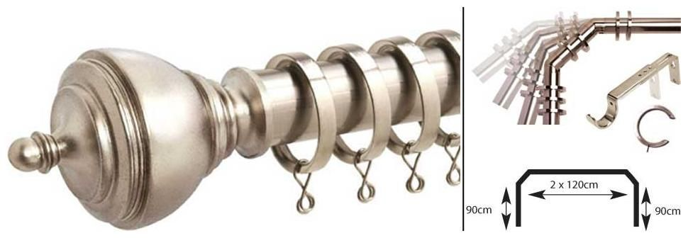 Speedy Premier Bay Pole 28mm Satin Silver Effect Metal Curtain