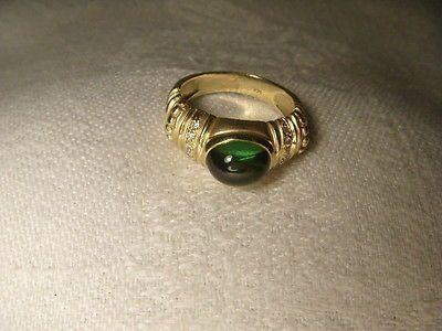 Etruscan Estate 14K Yellow Gold Cabochon Green Tourmaline Diamond Band Ring