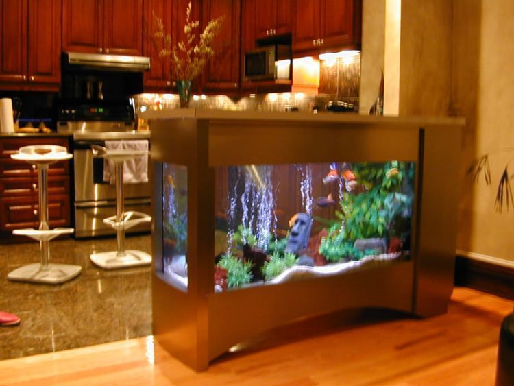 50 beautiful fish aquarium designs kerala home design for Aquarium interior designs pictures