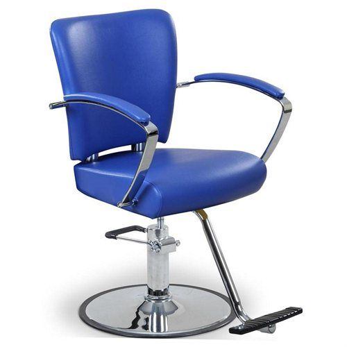 """Novak"" Blue Salon Styling Chair, Round Base, T-Bar"