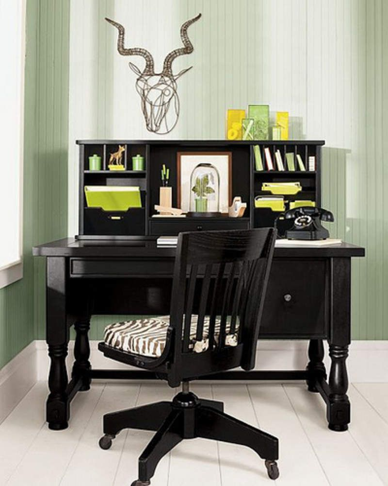 Interior, : Casual Home Office Decorating Design Ideas With Black Wood Office  Desk With Turned