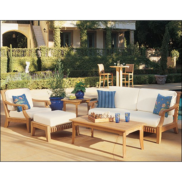 Wholesaleteak Outdoor Patio Grade A Teak Wood 5 Piece Teak Sofa Set 1 Sofa 1 Lounge Chair 1 Ottoman 1 Coffee Table And 1 Side Table Furniture Only Giva In 2021