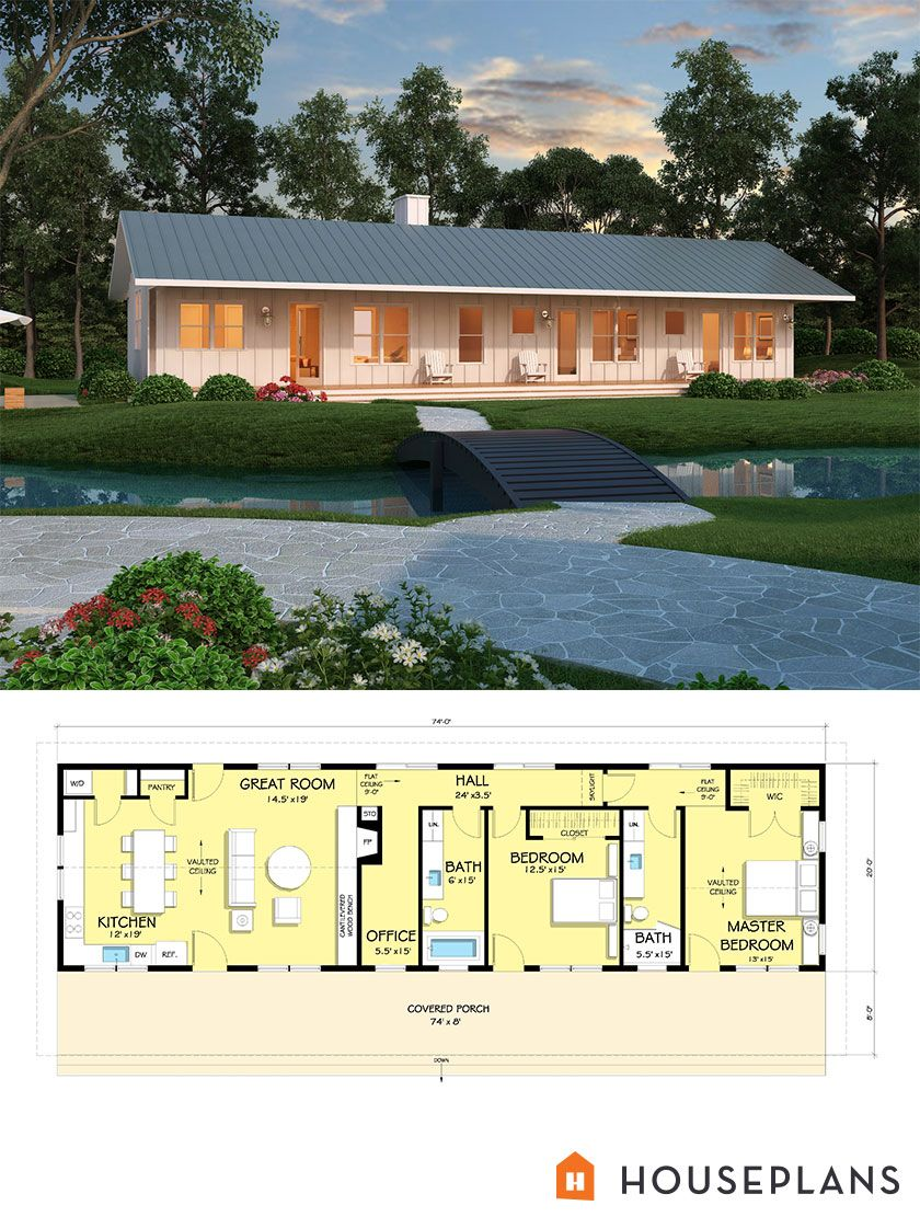 Ranch Style House Plan 2 Beds 2 Baths 1480 Sq Ft Plan 888 4 Barn Style House Modern Farmhouse Plans Ranch Style House Plans