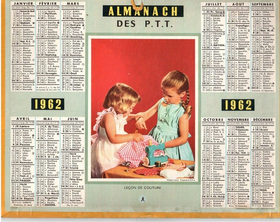 calendrier ptt 1962 achat vente neuf occasion priceminister temps mesure et perception. Black Bedroom Furniture Sets. Home Design Ideas