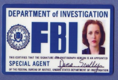 Fbi Id Card XFiles Dana Scully Fbi Badge Fake Id Props  Dana