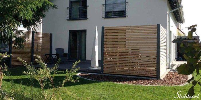 Sichtschutz Zaun Holz · Anthrazit · Metall · Lärche · modern · STAHLZART #bambussichtschutz