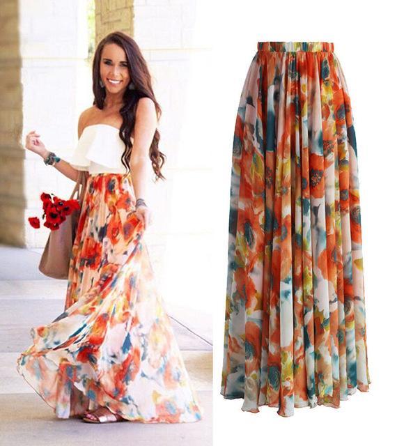 Spring Autumn Style BOHO Skirt Womens Floral Jersey Gypsy High Waist Long Maxi Full Skirt Summer Beach Sun Long Skirt 2