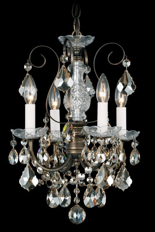Schonbek 3648 12 Wide 4 Light Candle Style Chandelier From The New Orleans Coll Etruscan Gold