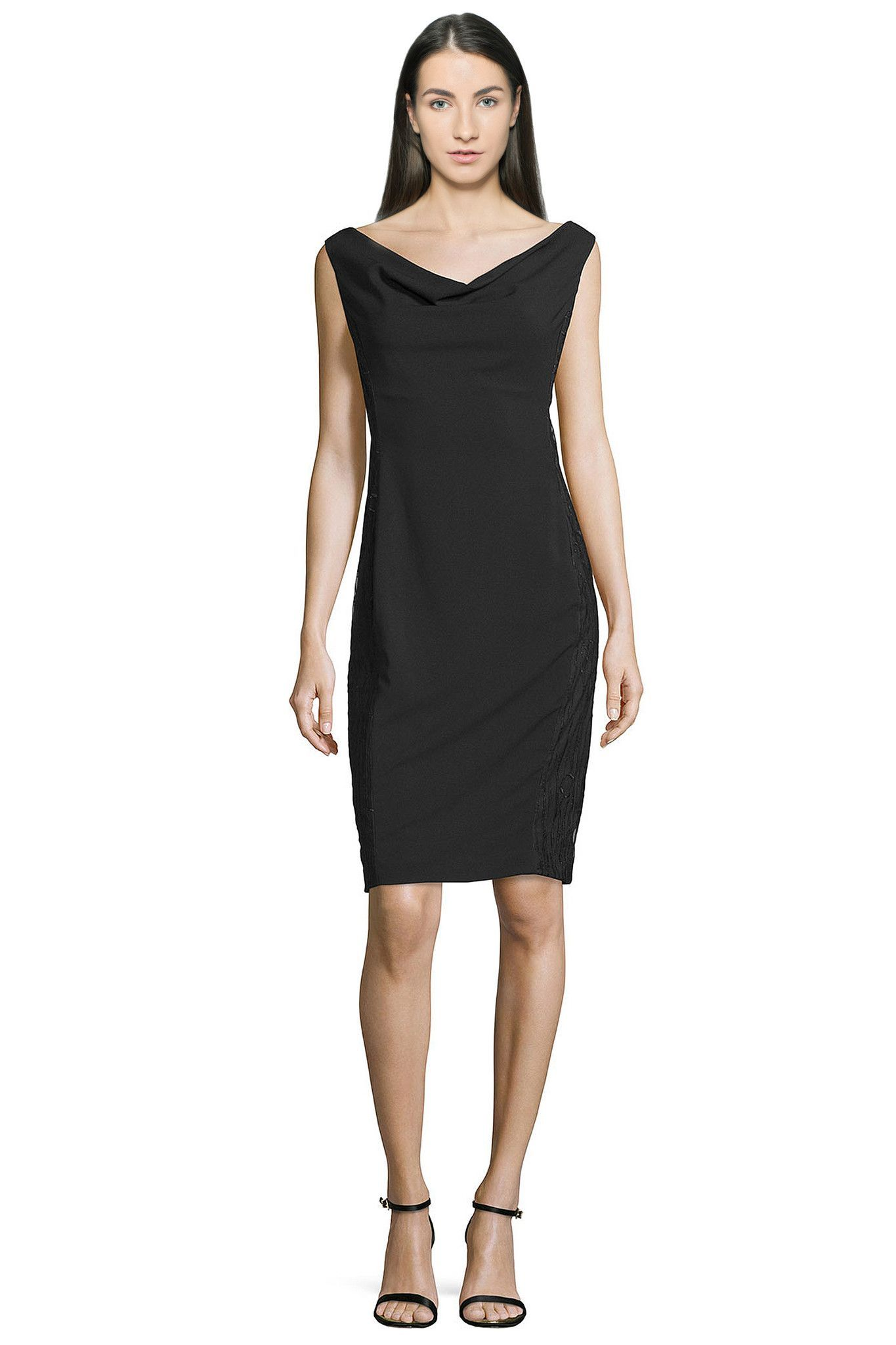 LIttle Black Sleeveless Cowl Neck Sheath Cocktail Evening Dress