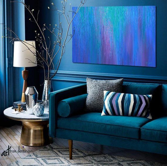 Cobalt Blue And Purple Abstract Canvas Wall Art For Jewel Tone Etsy Jewel Toned Bedroom Decor Wall Decor Bedroom Home Decor
