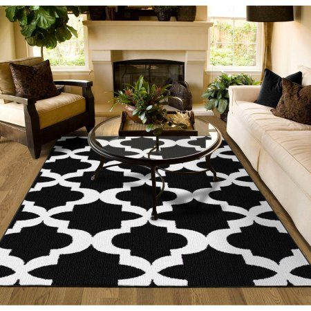 Mainstays Quatrefoil Black White 45 X66 Geometric Indoor Area Rug Walmart Com Living Room Area Rugs Rugs In Living Room Decor