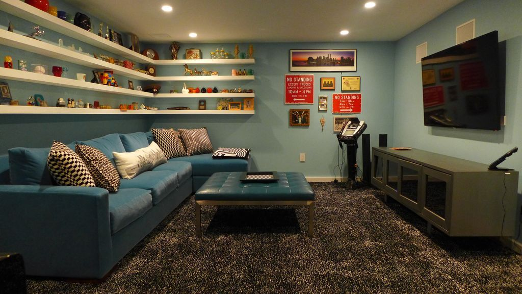 Man Cave Fort Nelson : Eclectic man cave with shag carpet ikea besta tv unit sectional