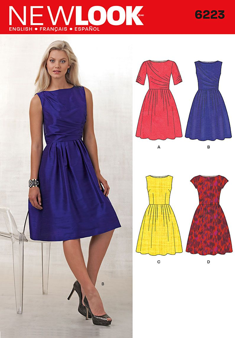 New Look 6223 Misses\' Dress with Bodice Variations sewing pattern ...