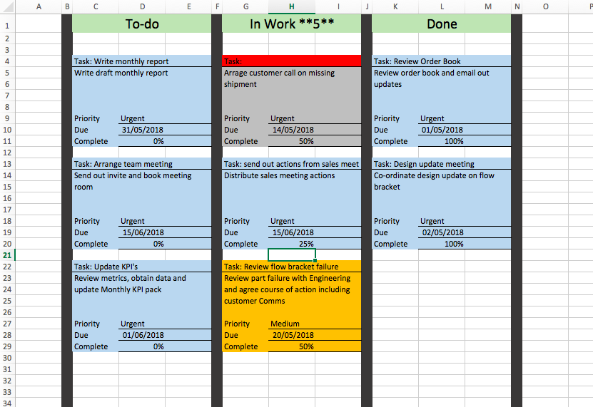 how to create a kanban board template in microsoft excel