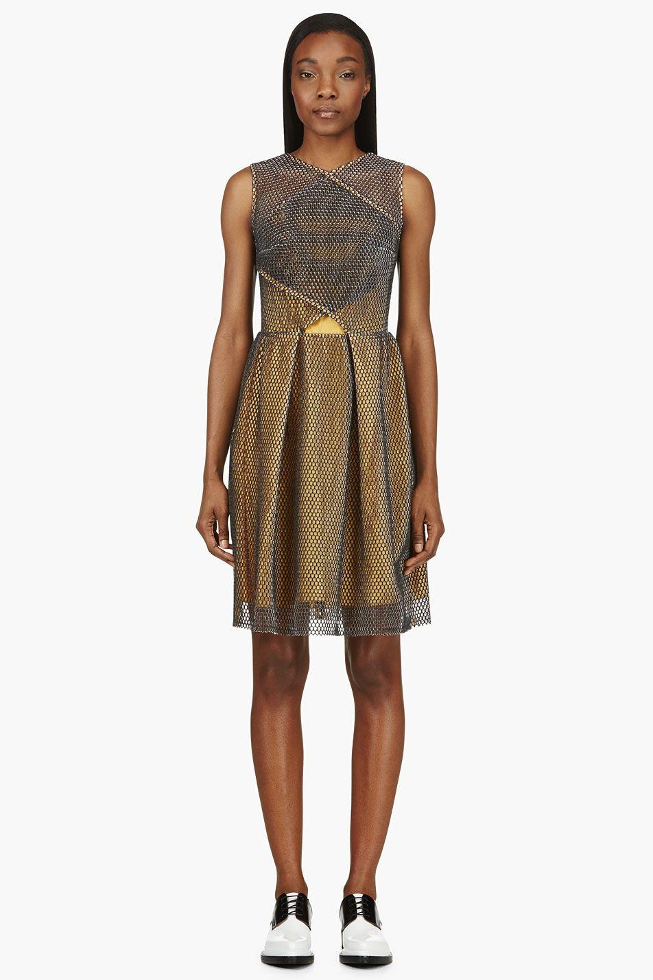 Carven black u gold mesh resille dress dress up pinterest